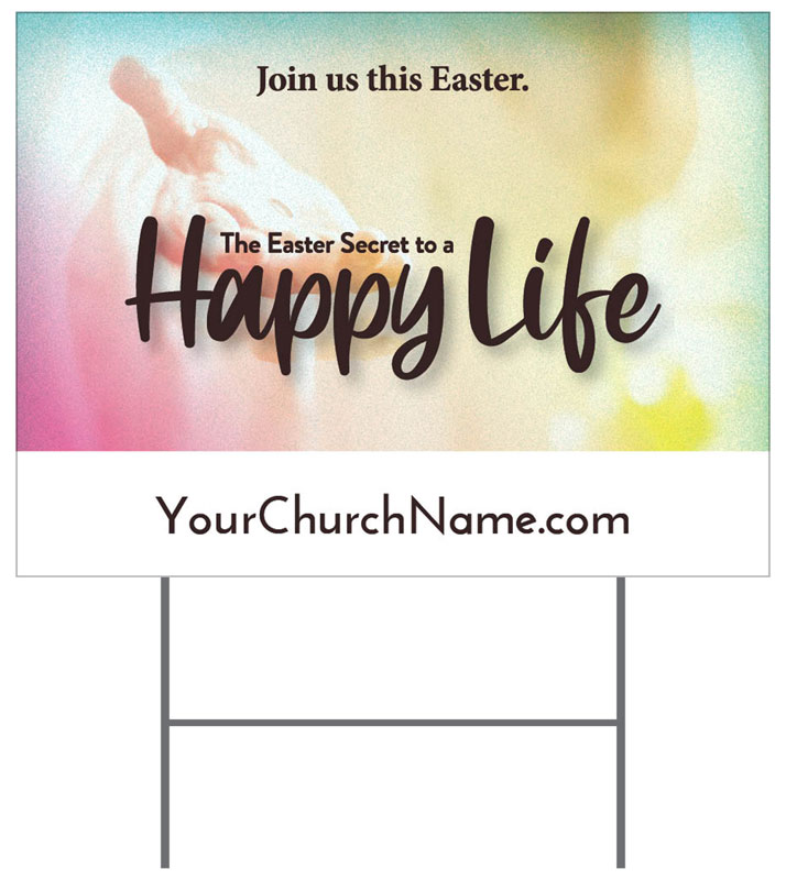 Yard Signs, Easter, Happy Life, 18 x 24