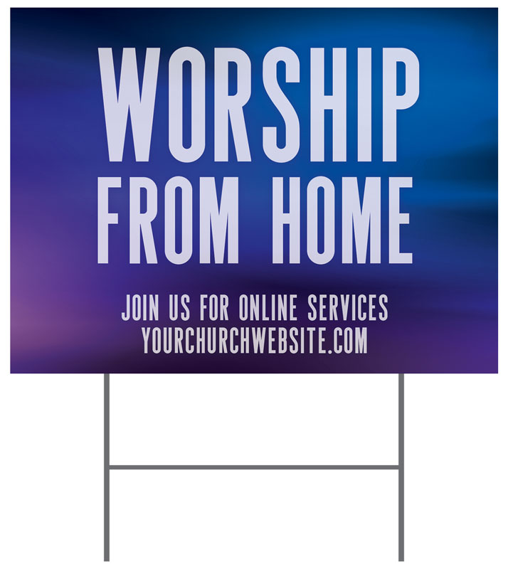 Yard Signs, You're Invited, Aurora Lights Worship From Home, 18 x 24