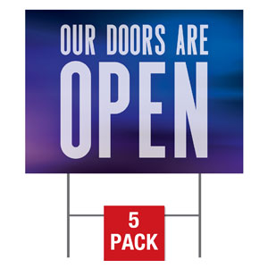 Aurora Lights Doors Are Open Yard Signs - Stock 1-sided