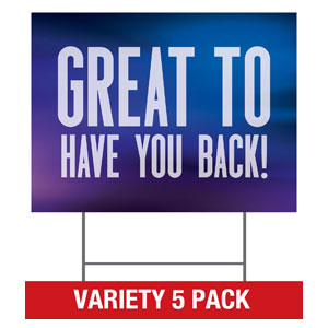 Aurora Lights Welcome Back Set Yard Signs - Stock 1-sided