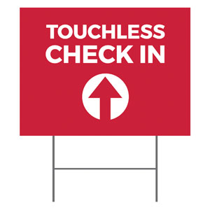 Red Touchless Check In YardSigns