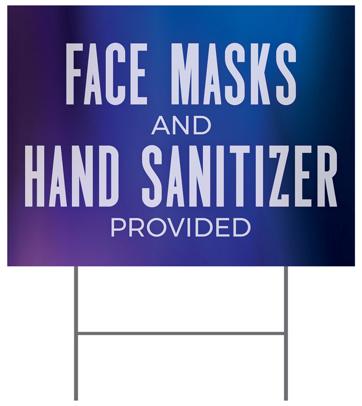 Yard Signs, Welcome Back, Aurora Lights Masks Sanitizer, 18 x 24