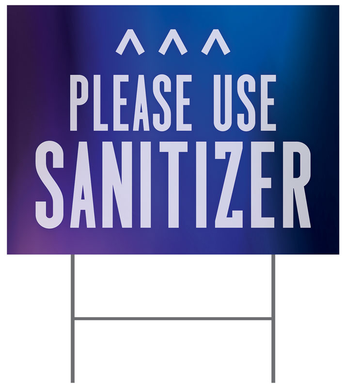 Yard Signs, Welcome Back, Aurora Lights Sanitizer Arrow, 18 x 24