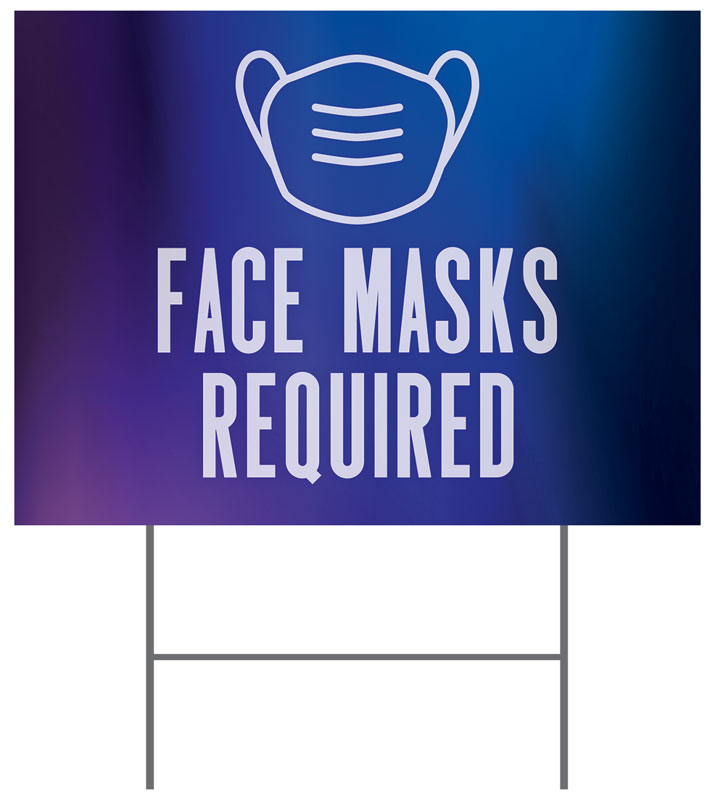 Yard Signs, Welcome Back, Aurora Lights Face Masks Required, 18 x 24