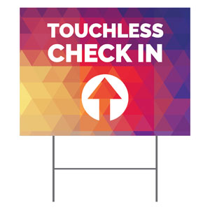 Geometric Bold Touchless Check In YardSigns