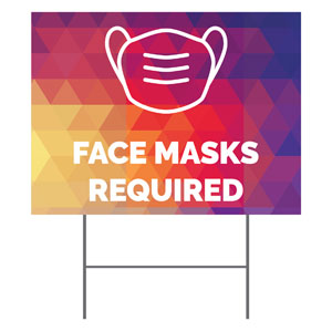 Geometric Bold Face Masks Required YardSigns
