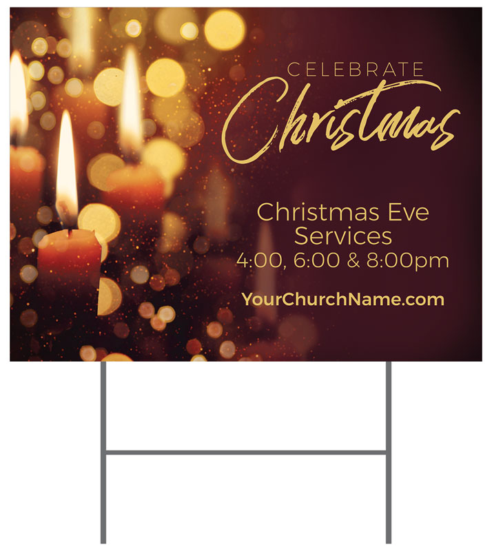 Yard Signs, Christmas, Celebrate Christmas Candles, 18 x 24