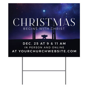 Begins With Christ Manger YardSigns