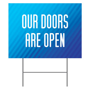 Retro Geo Blue Doors Are Open Yard Signs - Stock 1-sided