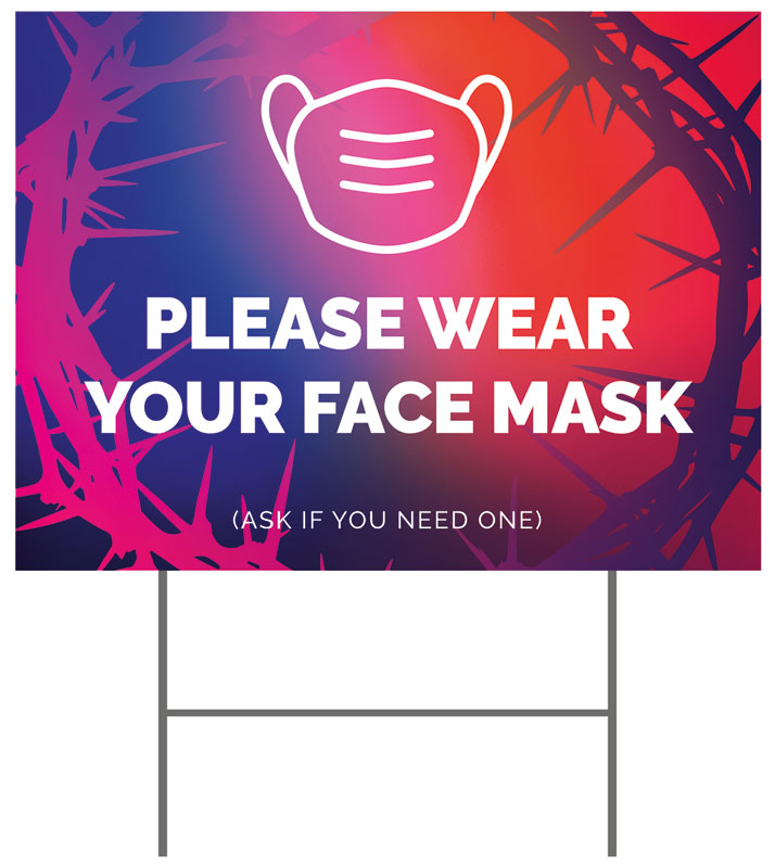 Yard Signs, Easter, Celebrate Easter Crown Face Mask, 18 x 24