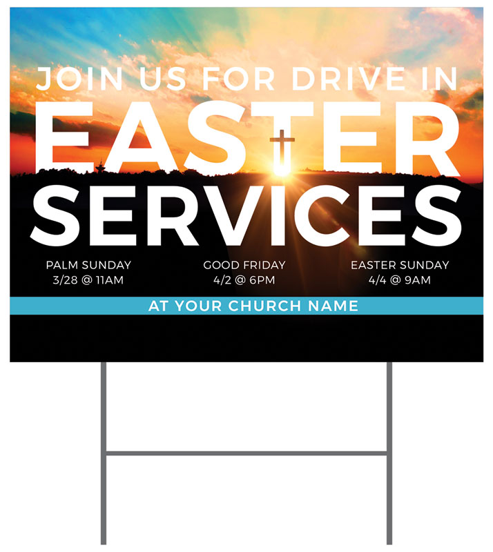 Yard Signs, Easter, Drive In Easter Services, 18 x 24