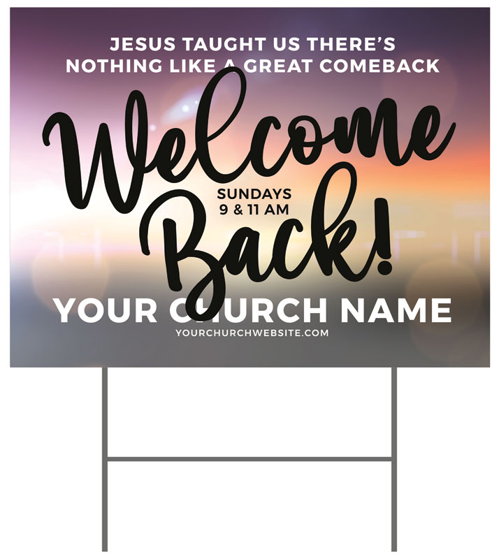 Yard Signs, Welcome Back, Jesus Comeback, 18 x 24